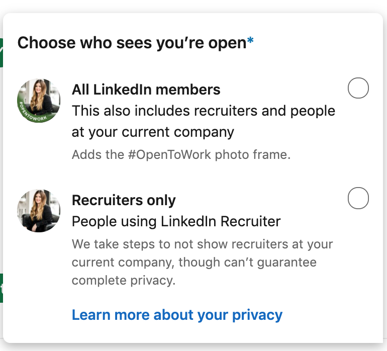 Screenshot of who sees if you are open to work