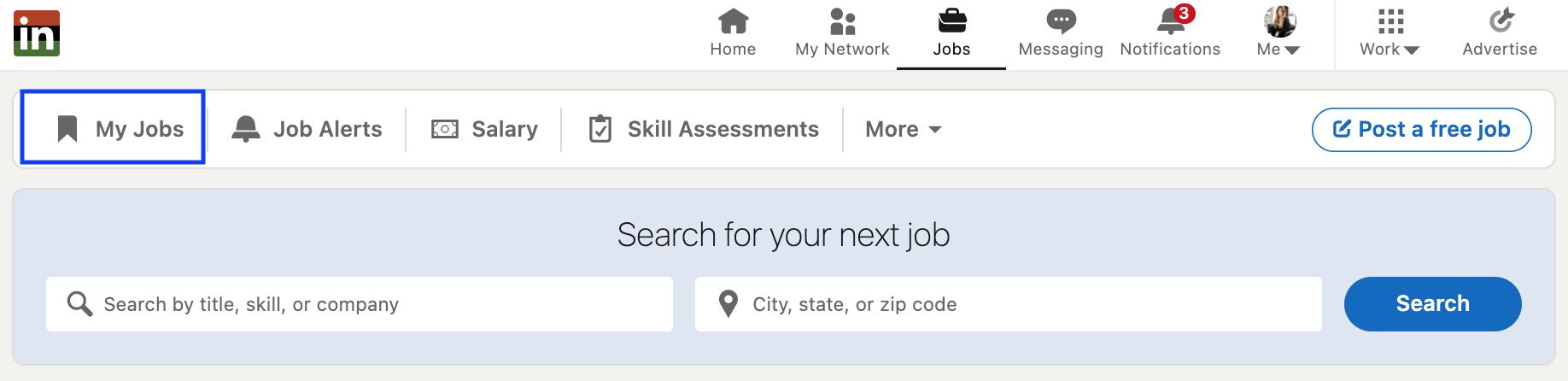 linkedin saved jobs section